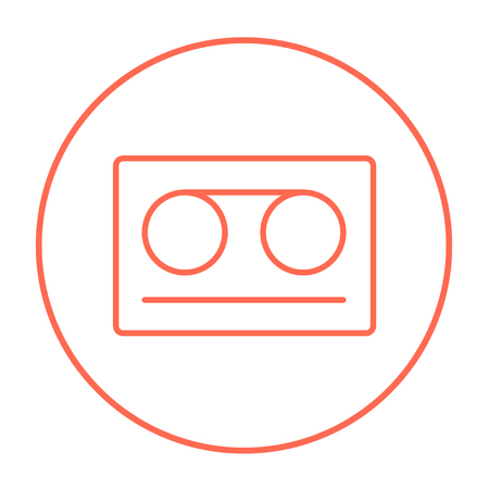 Cassette tape line icon for web, mobile and infographics. Vector red thin line icon in the circle isolated on white background.