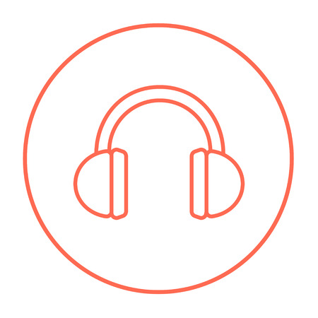 Headphone line icon for web, mobile and infographics. Vector red thin line icon in the circle isolated on white background.
