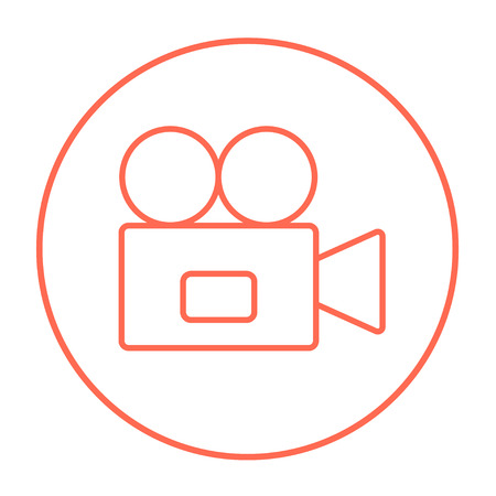 cine: Video camera line icon for web, mobile and infographics. Vector red thin line icon in the circle isolated on white background.