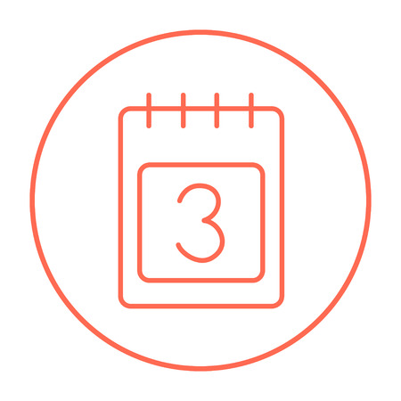 Calendar line icon for web, mobile and infographics. Vector red thin line icon in the circle isolated on white background.