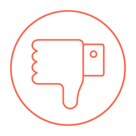 disapprove: Thumb down hand sign line icon for web, mobile and infographics. Vector red thin line icon in the circle isolated on white background.