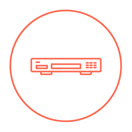 Video recorder line icon for web, mobile and infographics. Vector red thin line icon in the circle isolated on white background.