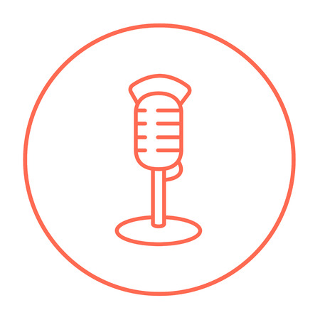 Retro microphone line icon for web, mobile and infographics. Vector red thin line icon in the circle isolated on white background. Illusztráció