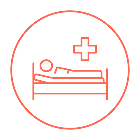 bedridden: Patient lying on the bed line icon for web, mobile and infographics. Vector red thin line icon in the circle isolated on white background.