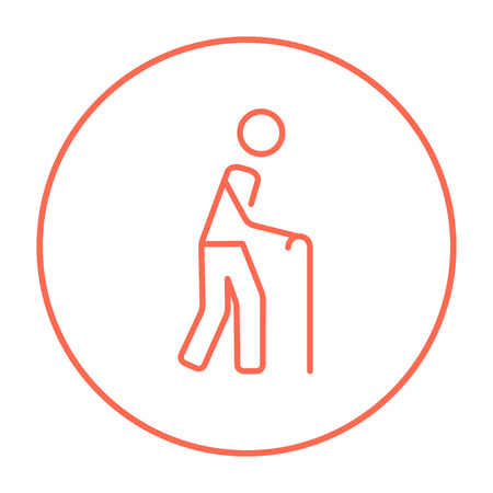 gerontology: Man walking with cane line icon for web, mobile and infographics. Vector red thin line icon in the circle isolated on white background.