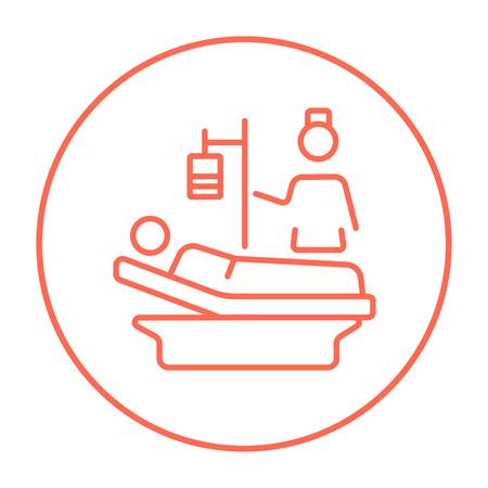 간호사 웹, 모바일 및 infographics 침대 라인 아이콘에 누워 환자에 참석. 흰색 배경에 고립 된 동그라미에서 벡터 빨간색 선 아이콘을 벡터.