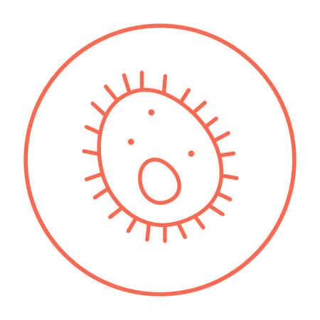 epidemiology: Bacteria line icon for web, mobile and infographics. Vector red thin line icon in the circle isolated on white background.