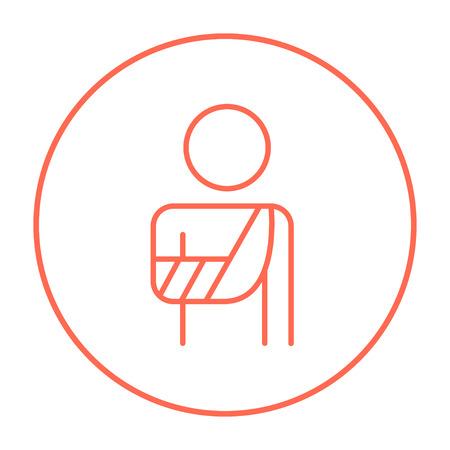 Een man met gebroken arm in verbanden lijn pictogram voor web, mobiel en infographics. Vector rode dunne lijn pictogram in de cirkel op een witte achtergrond.