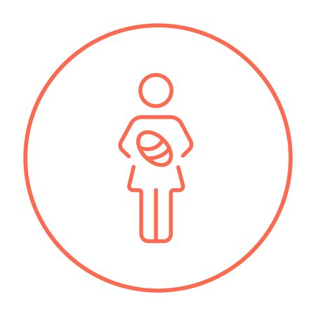 Woman holding the baby line icon for web, mobile and infographics. Vector red thin line icon in the circle isolated on white background.