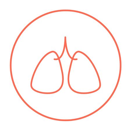 Lungs line icon for web, mobile and infographics. Vector red thin line icon in the circle isolated on white background. Illustration