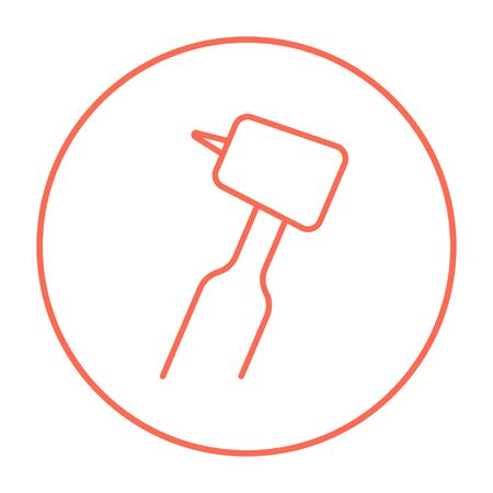 Dental drill line icon for web, mobile and infographics. Vector red thin line icon in the circle isolated on white background. Ilustração
