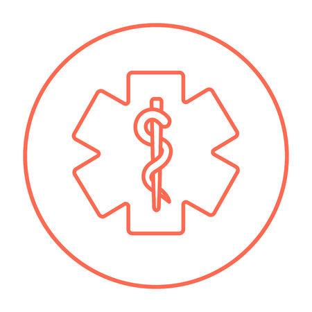 minimal: Medical symbol line icon for web, mobile and infographics. Vector red thin line icon in the circle isolated on white background.