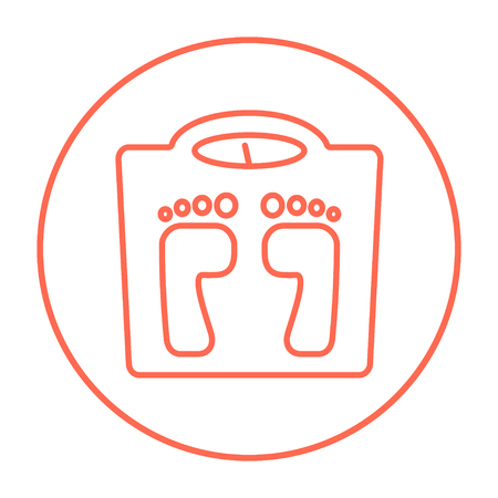 Waage Linie Symbol für Web, Mobile und Infografiken. Vector red dünne Linie Symbol im Kreis auf weißem Hintergrund.