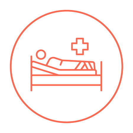 Patient lying on the bed line icon for web, mobile and infographics. Vector red thin line icon in the circle isolated on white background.