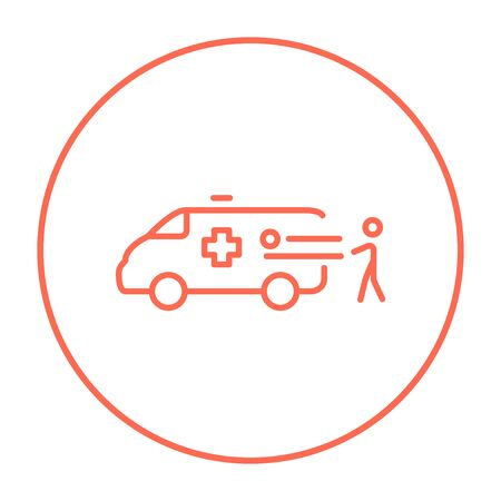 Man pushing stretchers with patient in ambulance car line icon for web, mobile and infographics. Vector red thin line icon in the circle isolated on white background. Ilustração