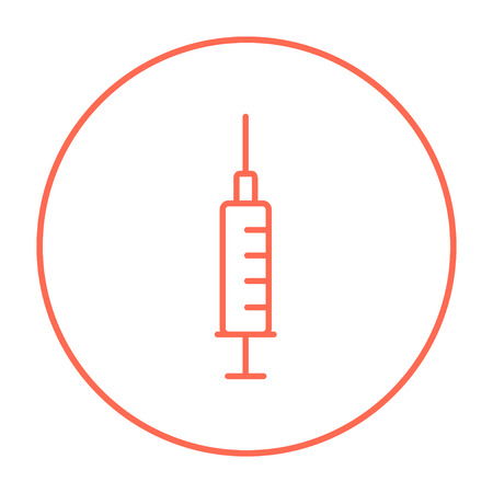 Syringe line icon for web, mobile and infographics. Vector red thin line icon in the circle isolated on white background.