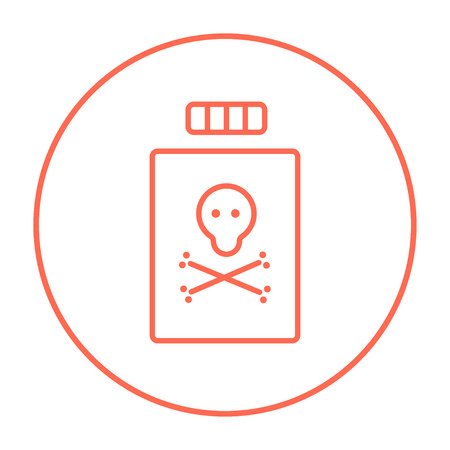 poison bottle: Bottle of poison line icon for web, mobile and infographics. Vector red thin line icon in the circle isolated on white background.