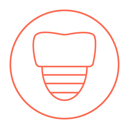 implanted: Tooth implant line icon for web, mobile and infographics. Vector red thin line icon in the circle isolated on white background.
