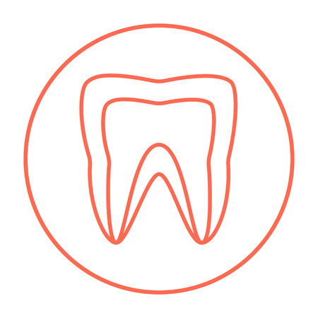 Molar tooth line icon for web, mobile and infographics. Vector red thin line icon in the circle isolated on white background.