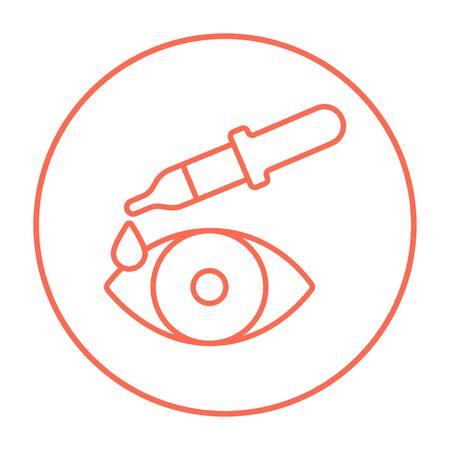 Pipet en oog lijn pictogram voor web, mobiel en infographics. Vector rode dunne lijn pictogram in de cirkel op een witte achtergrond.