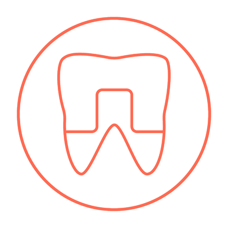 Crowned tooth line icon for web, mobile and infographics. Vector red thin line icon in the circle isolated on white background.