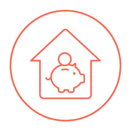 House savings line icon for web, mobile and infographics. Vector red thin line icon in the circle isolated on white background.