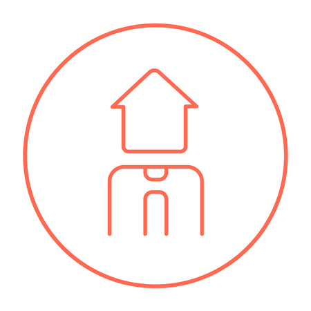 possession: Real estate agent line icon for web, mobile and infographics. Vector red thin line icon in the circle isolated on white background.