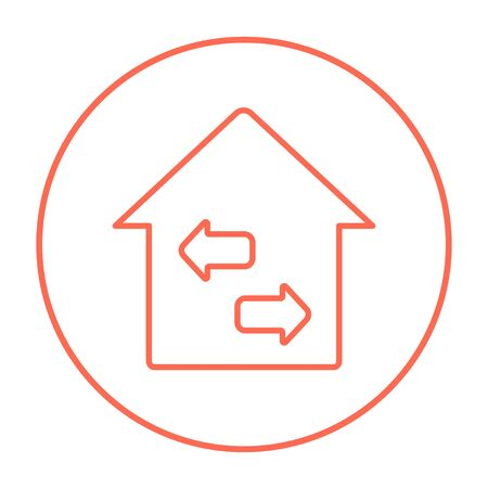 resale: Property resale line icon for web, mobile and infographics. Vector red thin line icon in the circle isolated on white background.