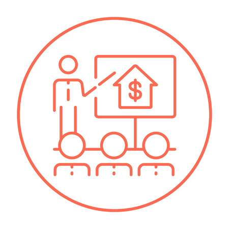 valuation: Real estate training line icon for web, mobile and infographics. Vector red thin line icon in the circle isolated on white background.