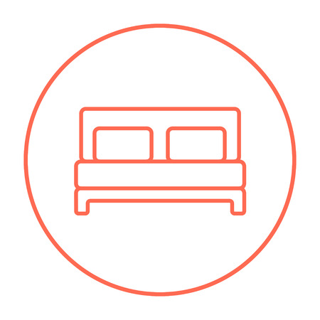 headboard: Double bed line icon for web, mobile and infographics. Vector red thin line icon in the circle isolated on white background.