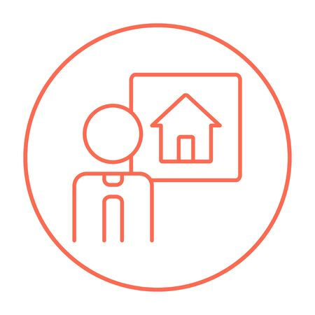 renter: Real estate agent line icon for web, mobile and infographics. Vector red thin line icon in the circle isolated on white background.