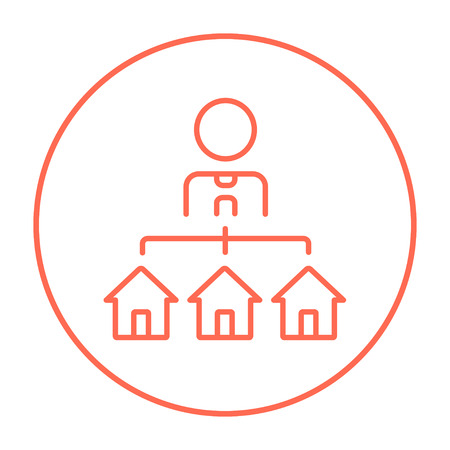 renter: Real estate agent with three houses line icon for web, mobile and infographics. Vector red thin line icon in the circle isolated on white background.