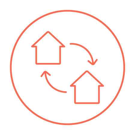 house exchange: House exchange line icon for web, mobile and infographics. Vector red thin line icon in the circle isolated on white background.