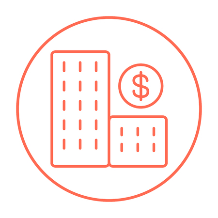 condominium: Condominium with dollar symbol line icon for web, mobile and infographics. Vector red thin line icon in the circle isolated on white background.
