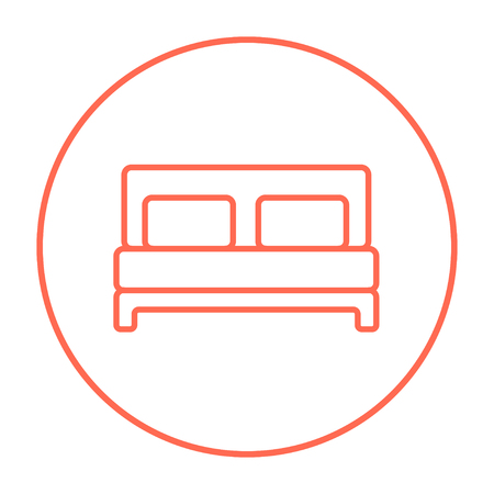 one bedroom: Double bed line icon for web, mobile and infographics. Vector red thin line icon in the circle isolated on white background.