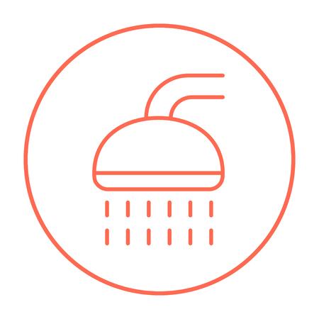 Web、モバイル、インフォ グラフィックのシャワー ライン アイコン。白い背景で隔離サークルのベクトル赤い細い線アイコン。
