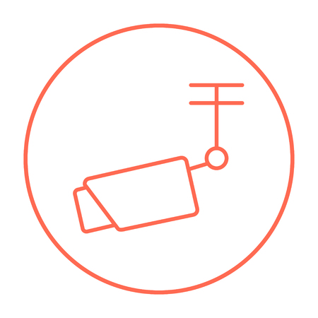 Outdoor surveillance camera line icon for web, mobile and infographics. Vector red thin line icon in the circle isolated on white background.