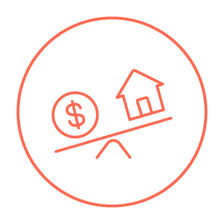 weigher: House and dollar symbol on scales line icon for web, mobile and infographics. Vector red thin line icon in the circle isolated on white background.