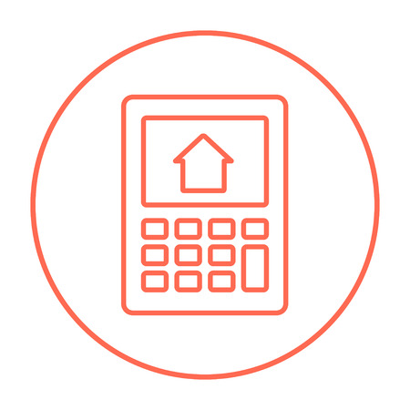 mortgage rates: Calculator with house on display line icon for web, mobile and infographics. Vector red thin line icon in the circle isolated on white background.