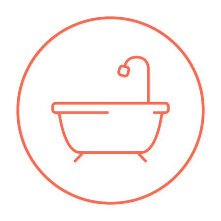 Bathtub with shower line icon for web, mobile and infographics. Vector red thin line icon in the circle isolated on white background. Ilustração