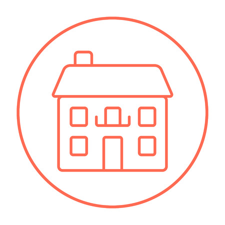 detached: Two storey detached house line icon for web, mobile and infographics. Vector red thin line icon in the circle isolated on white background. Illustration