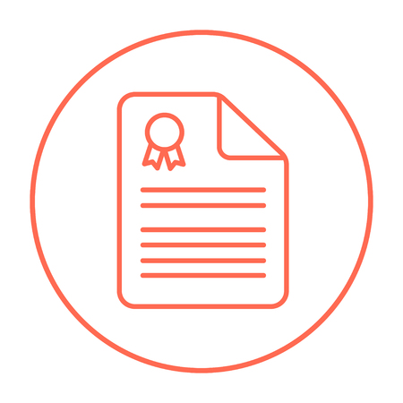 Real estate contract line icon for web, mobile and infographics. Vector red thin line icon in the circle isolated on white background.