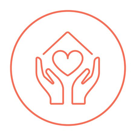 hands in: Hands holding house symbol with heart shape line icon for web, mobile and infographics. Vector red thin line icon in the circle isolated on white background.