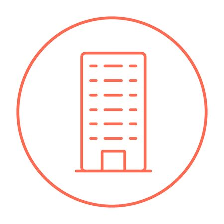 multi storey: Residential building line icon for web, mobile and infographics. Vector red thin line icon in the circle isolated on white background. Stock Photo