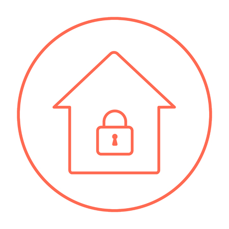 safeness: House with a closed lock line icon for web, mobile and infographics. Vector red thin line icon in the circle isolated on white background.