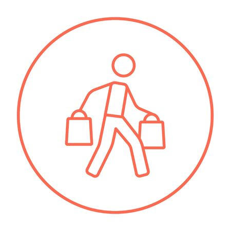 Man carrying shopping bags line icon for web, mobile and infographics. Vector red thin line icon in the circle isolated on white background. Illustration