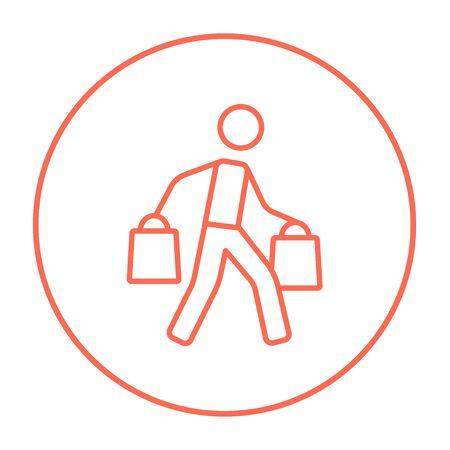 Uomo che trasportano borse per la spesa riga icone per il web, mobile e infografica. Vettore rosso sottile linea icona nel cerchio isolato su sfondo bianco.
