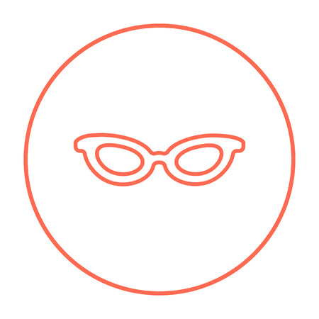 eyeglass: Eyeglasses line icon for web, mobile and infographics. Vector red thin line icon in the circle isolated on white background.