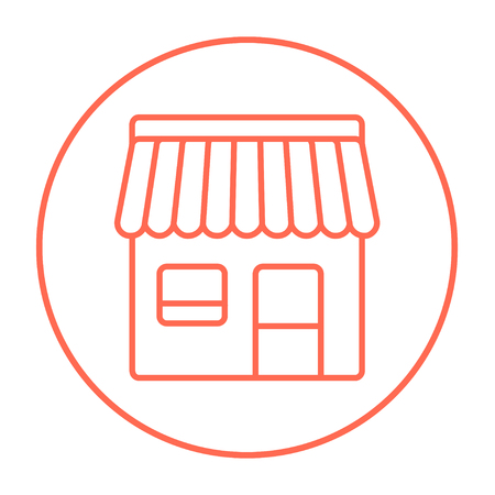 awnings windows: Shop line icon for web, mobile and infographics. Vector red thin line icon in the circle isolated on white background.