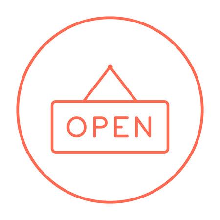 Icona della linea di segno aperto per web, mobile e infografica. Icona rossa linea sottile vettoriale nel cerchio isolato su sfondo bianco. Archivio Fotografico - 53708166
